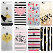 Hot Pink Stripe Heart Bow Knot Flamingo Love Soft TPU Case Coque Fundas For iPhone 7Plus 7 6 6S 6Plus 5 5S SE 5C 4 4S Samsung