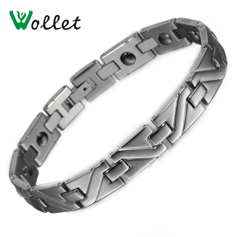Wollet 20.5cm Healing Magnetic Hematite Solid Germanium Stainless Steel Bracelet Bangle  ...