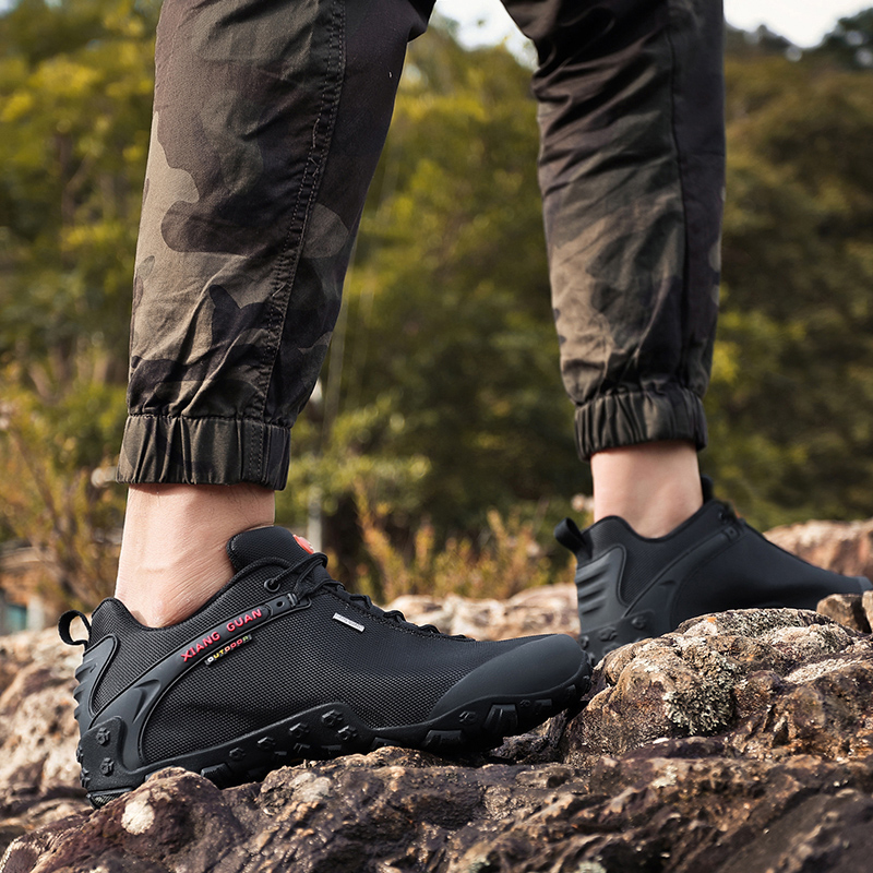 Image 4 - XIANG GUAN Outdoor Hiking Shoes EUR size 36 48 Men Breathable Anti skid Windproof black Women travel Boots Trend Sports Sneakers-in Hiking Shoes from Sports & Entertainment