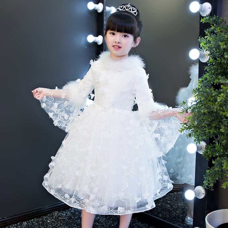 2017 Luxury Elegant Snow White Princess Party Dress For Children Kids Girls Winter Warm Flowers Birthday Wedding Party Dresses stylish tiny flowers print wedding casual party white tie for men