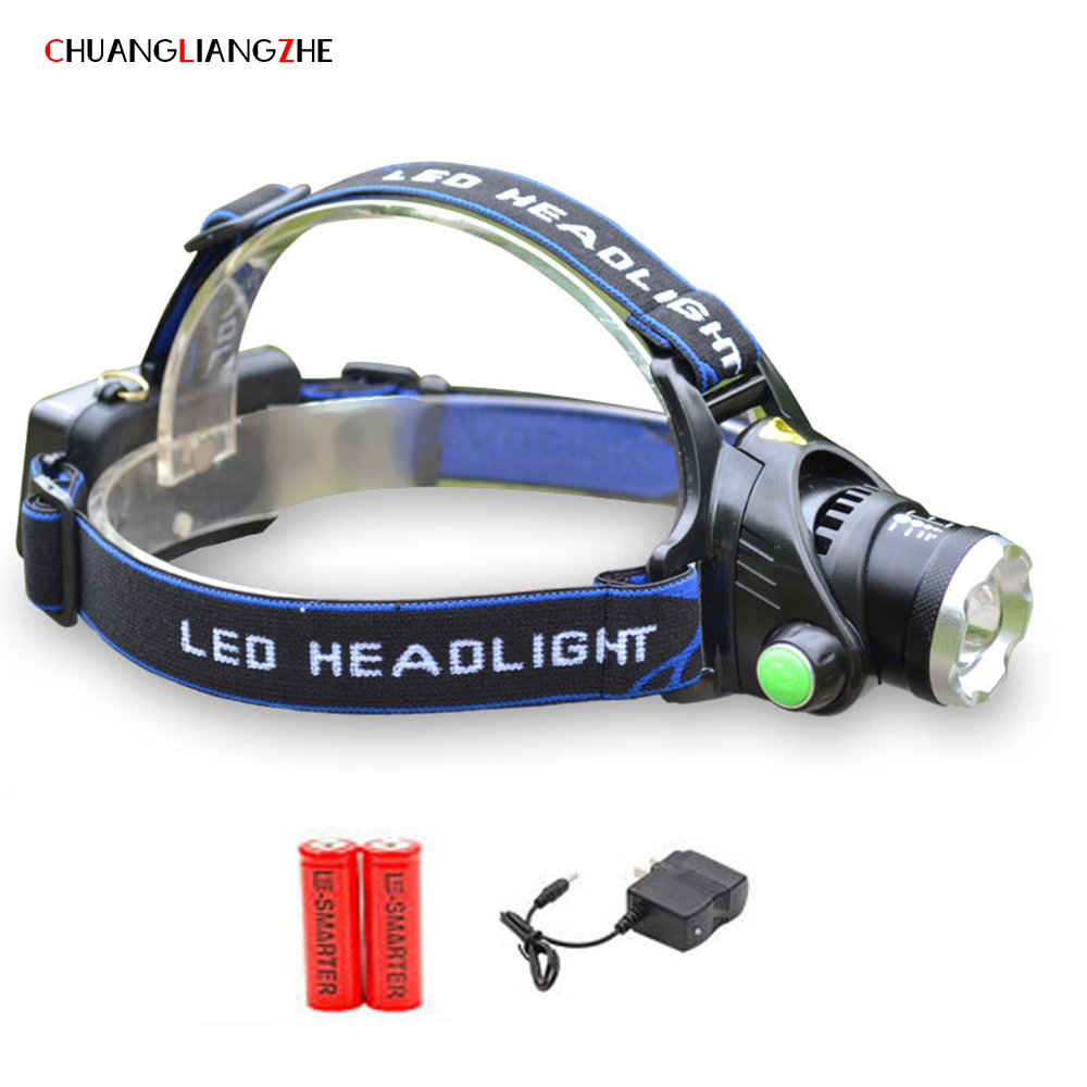 CHUANGLIANGZHE Rechargeable Headlight 2000Lm T6 XM-L2 Powerful Led Hunting Headlamp Fishing Lamp Hunting Lantern 18650 Battery