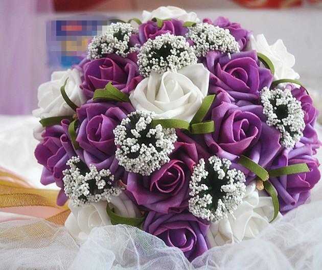 2017 Nueva Barato de La Boda/la Dama de honor Púrpura y Blanco de Novia Hechos A Mano ramo Artificial Ramo de Rosas de mariage de la boda