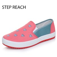 Sweet Cute Female Canvas Fashion Flat Shoes Breathable Heart Shaped Spring Autumn