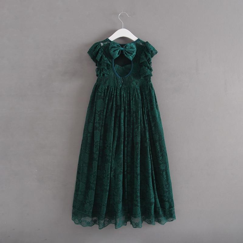 Vintage princess Girl Lace Long Dress big bow design backless Baby Kids Wedding vestido toddler girls Xmas clothes 2-7Yrs