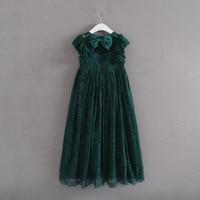 Vintage Princess Girl Lace Long Dress Big Bow Design Backless Baby Kids Wedding Vestido Toddler Girls