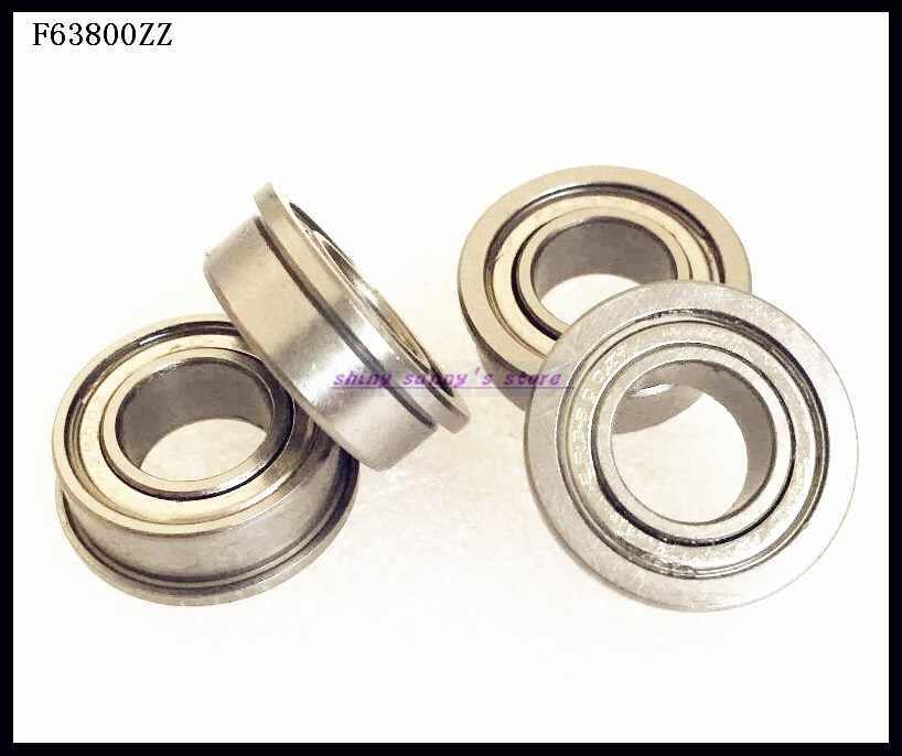 F63800zz Flange Metal Double Shielded Ball Bearing 10x19x7 mm 10 PCS