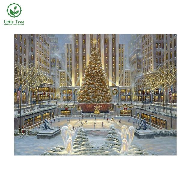 5d алмаз живопись елочные украшения каток зима снег вид живописи подарки на Новый Год мозаика вышивка наборы