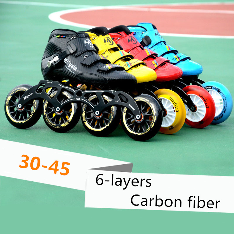 6-layers Carbon Fiber Professional Inline Speed Skates Shoes for Indoor Track Street Racing Super Light 30-45 Adults Kids Roller  - buy with discount