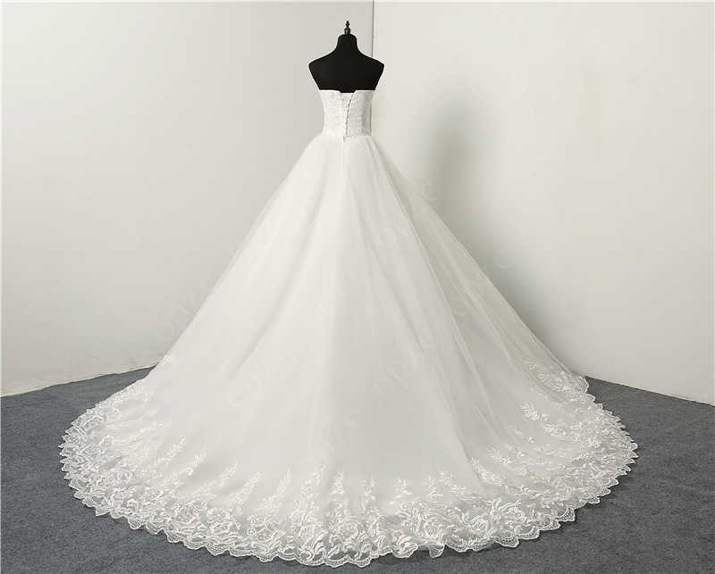 Fashion Simple Classic Ball Gown Off White Wedding Dress Lace Up Sweet Strapless Sleeveless Vestido De Noiva Lace Appliques