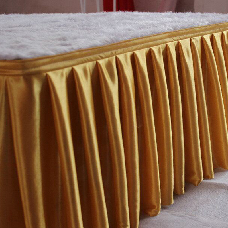 Luxury Multi Color Ice Silk Table Skirt White Table Cloth Wedding Table Skirting For Event Party Banquet Hotel Catwalk Decor