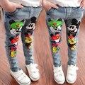 Мода дети весна лето джинсы микки мальчиков джинсы симпатичные джинсовые брюки джинсовые брюки для девочек детей джинсы девочки весна