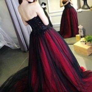 Image 3 - Eightale Gothic Schwarz und Rot Hochzeit Kleid Sweetheart Perlen Lace Up Lange Schwarz Burgund Brautkleider hochzeit kleid 2019