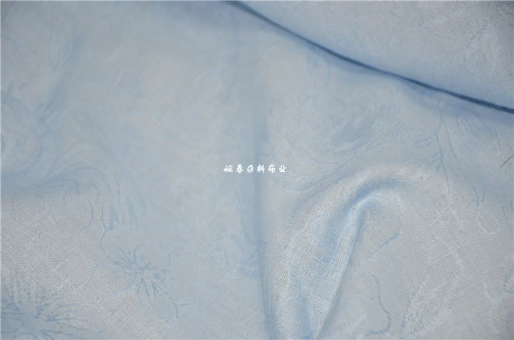Free ship fabric cotton linen sky blue with floral embroidery thin fabric price for 1 meter 59
