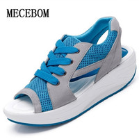 2017 Fashion Summer Women S Sandals Casual Mesh Breathable Shoes Women Ladies Wedges Sandals Lace Platform
