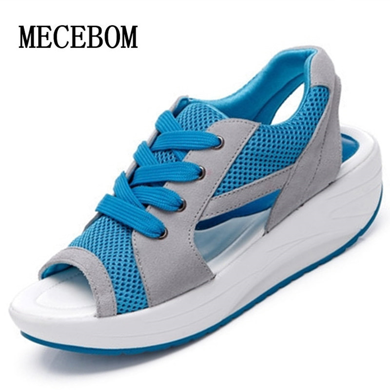 2018 Fashion Summer Women's Sandals Casual Mesh Breathable Shoes Women Ladies Wedges Sandals Lace Platform Sandalias 2717W minika women sandals summer shoes breathable lace flats platform wedges lose weight creepers summer sandals cd41