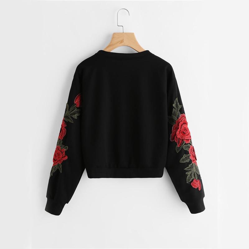 HTB1dwdYSVXXXXcPXXXXq6xXFXXXj - Rose Embroidery Sweatshirt Women Vintage Black Long Sleeve JKP050