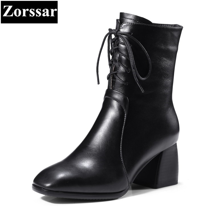 {Zorssar} 2018 NEW Genuine Leather Women Short Boots lace up High heels ankle Equestrian boots big size women shoes winter boots daidifen 2017 autumn winter women ankle boots high heels lace up leather double buckle platform short booties new plus size 48