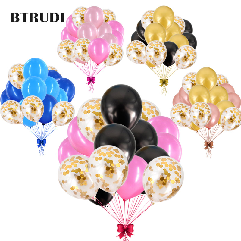 BTRUDI 15Pcs 12inch Gold confetti balloon Rose Gold pink blue black Latex Balloons for Wedding Birthday Party Event Decoration