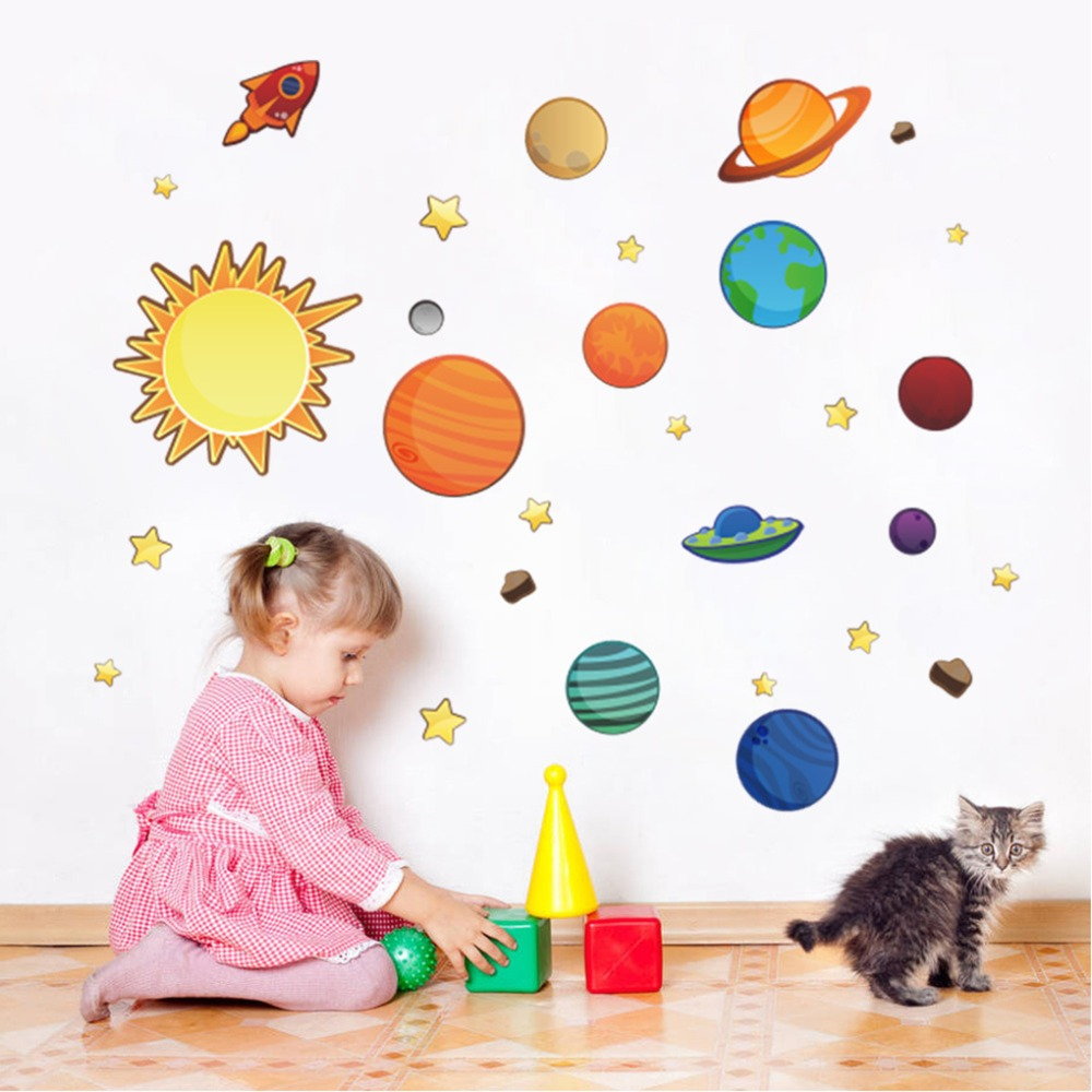 Colorful Solar System Wall Sticker Stars Space Wall Decals Planets Poster  Mural For Kids Rooms Nursery Baby Childrenu0027s Bedroom In Wall Stickers From  Home ... Part 82
