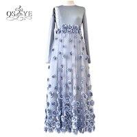 Real Photos Blue Long Muslim Evening Dresses 2017 O Neck Long Sleeves Handmade Flowers Tulle Skirt