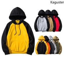 Kaguster men women harajuku Hooded Patchwork streetwear hoodies sweatshirt Punk Style Hip Hop long sleeve Pullover kpop clothes