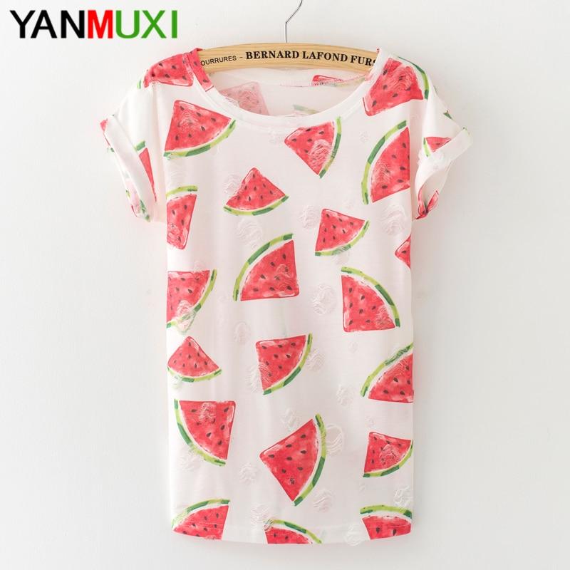 Новые летние женские модная футболка с принтом арбуза Harajuku 2017 футболки Sexy отверстие Ленточки Для женщин Топ