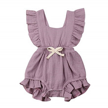 6 Color Cute Baby Girl Ruffle Solid Color Romper Jumpsuit Outfits Sunsuit for Ne