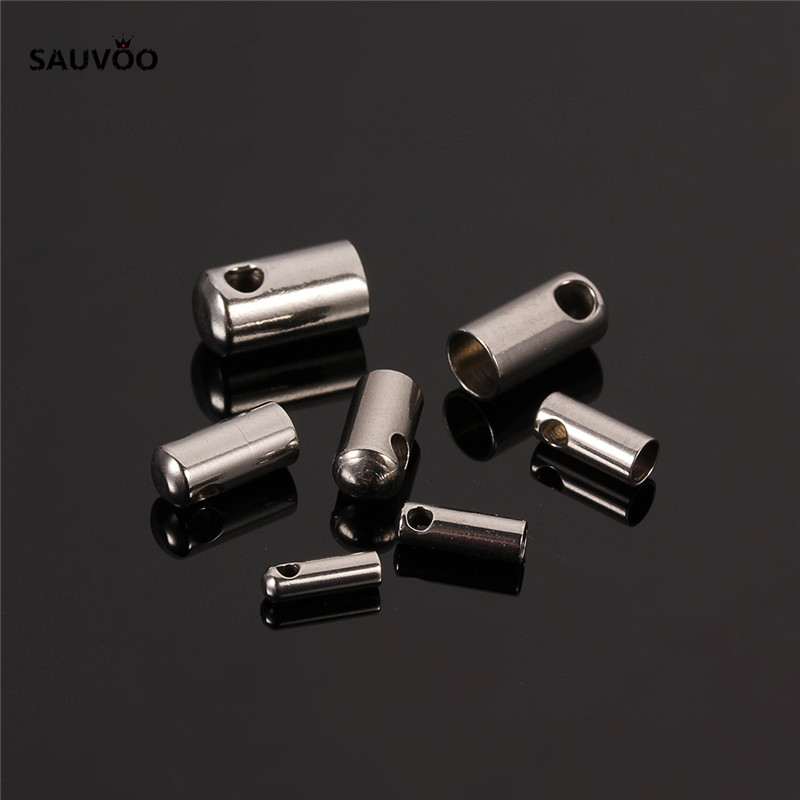 30pcs/lot Round Stainless Steel Crimp Clasps Cord End Caps Fits for 1.5/2/2.5/3/3.5/4/<font><b>4.5mm</b></font> Leather Cord Jewelry Findings F2206 image