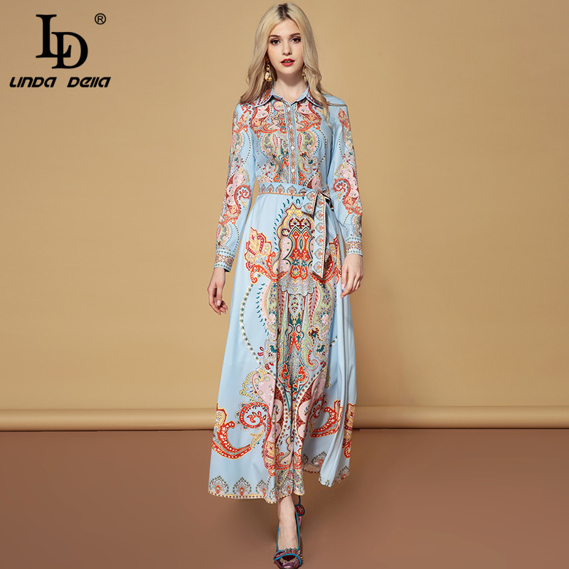 LD LINDA DELLA Fashion Runway Autumn Belted Dresses Women s Long Sleeve Elegant Vacation Holiday Printed
