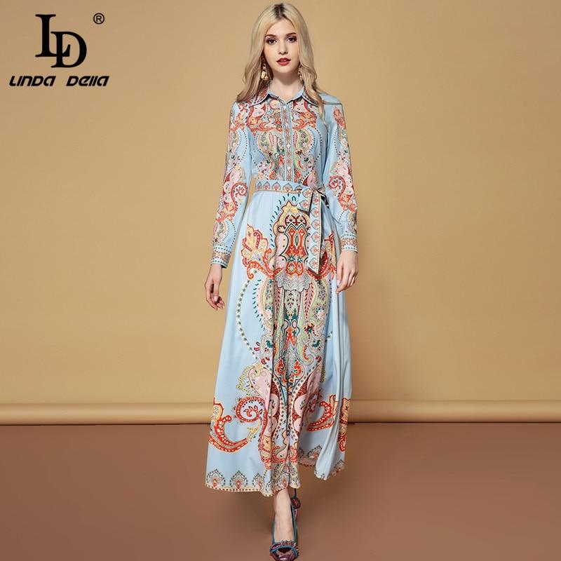LD LINDA DELLA Fashion Runway Autumn Belted Dresses Women's Long Sleeve Elegant Vacation Holiday Printed Vintage Maxi Long Dress