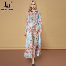 LD LINDA DELLA Fashion Runway Autumn Belted Dresses Women's Long Sleeve Elegant Vacation Holiday Printed Vintage Maxi Long Dress цена и фото