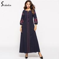 Siskakia Women Dresses Fall 2018 maxi long dress Vintage ethnic Embroidery Autumn dress Urban casual tassel drawstring Female