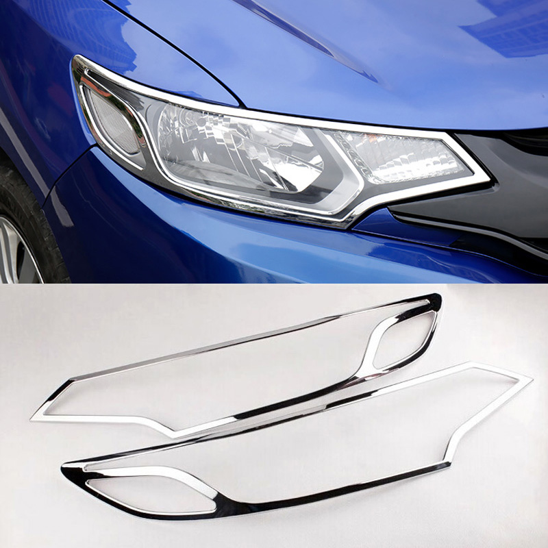 For Honda Fit Jazz 2014 2015 2016 2017 2018 Exterior Chromed Headlight Cover Decoration Front Head Lamp Light Cover Trims 2Pcs|Chromium Styling| |  - title=