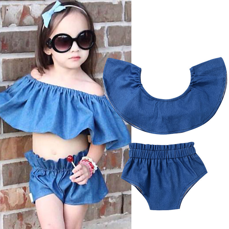 Summer Casual Denim Newborn Toddler Baby Girl Clothing Kids Off Shoulder Crop Tops+Shorts Outfit Clothes Set 2017 new fashion kids clothes off shoulder camo crop tops hole jean denim pant 2pcs outfit summer suit children clothing set