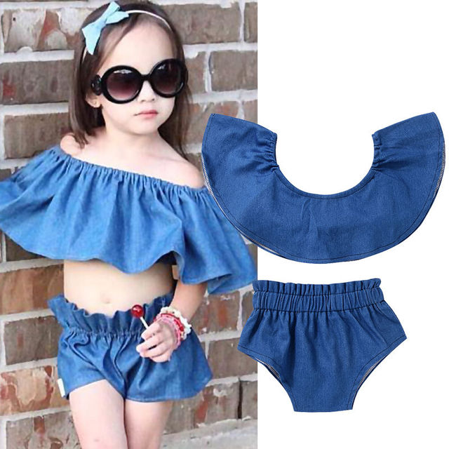 534c75b5f1515 Summer Casual Denim Newborn Toddler Baby Girl Clothing Kids Off Shoulder Crop  Tops+Shorts Outfit Clothes Set