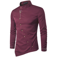 Brand 2017 Fashion Male Shirt Long Sleeves Tops Personality Oblique Button Irregular High Grade Mens Dress