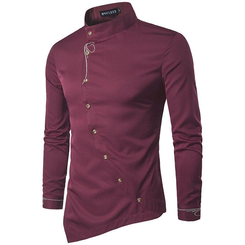 Brand 2018 Fashion Male Shirt Long-Sleeves Tops Personality Oblique Button Irregular High-Grade Mens Dress Shirts Slim Men Shirt