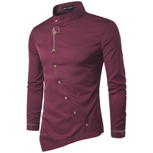 Brand 2018 Fashion Male Shirt Long-Sleeves Tops Personality Oblique Button Irregular High-Grade Mens Dress Shirts Slim Men Shirt