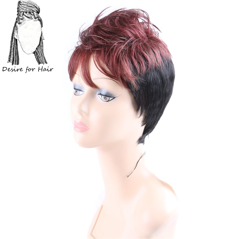 Desire for hair short cockscomb wig non lace spiky synthetic wigs for daily use ombre black burgundy blonde brown color