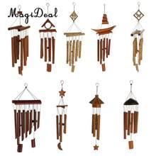 Regalo increíble de MagiDeal, campanillas de viento de madera de Color relajante de bambú para patio, jardín exteriores, salón, decoración del hogar