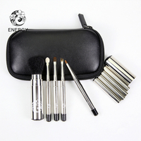 ENERGY Brand 5pcs Portable Makeup Brushes Make Up Brush Set Animal Hair Retractable Copper Handle Bag