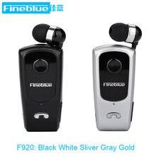 Fineblue f920 retrátil sem fio bluetooth fones de ouvido handsfree fone estéreo clipe microfone chamada telefone portátil