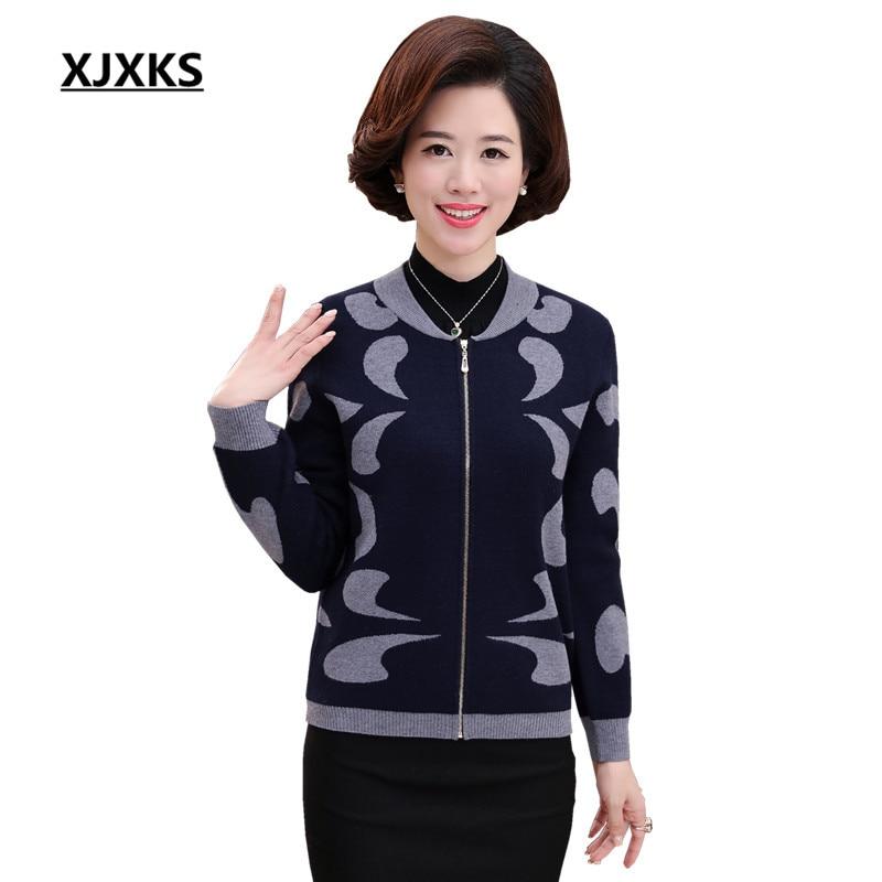 XJXKS 2017 High Quality Autumn Winter Sweater Women Cardigan Sweater Loose Zipper Women s Cashmere Sweater