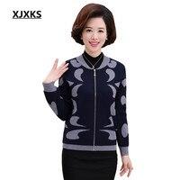 XJXKS 2017 High Quality Autumn Winter Sweater Women Cardigan Sweater Loose Zipper Women's Cashmere Sweater 175