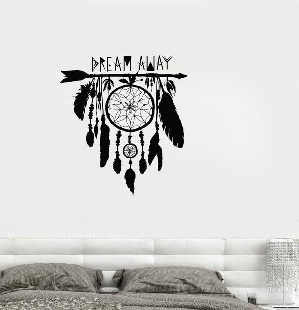 US $4.98 25% OFF|Traumfänger wandtattoo vinyl aufkleber Traumfänger amulett  federn Nacht Symbol indische aufkleber Schlafzimmer Wohnzimmer wandbild ...