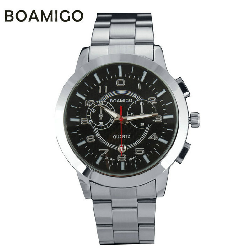 BOAIMGO men's quartz military sports fashion casual watches full steel band wristwatches date display  relogio masculino F-50 2016 biden brand watches men quartz business fashion casual watch full steel date 30m waterproof wristwatches sports military wa