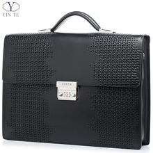 YINTE Men's Briefcase Leather High End Business Briefcase Messenger Laptop Case Attache Bag Cow Leather Portfolio Tote T8601-5