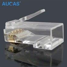Aucas 5 stücke/10 stücke rj45 cat6 stecker 8P8C computer netzwerk kabel stecker modulare plug cat 3 stück anzug Netzwerk RJ 45 Stecker Cat6