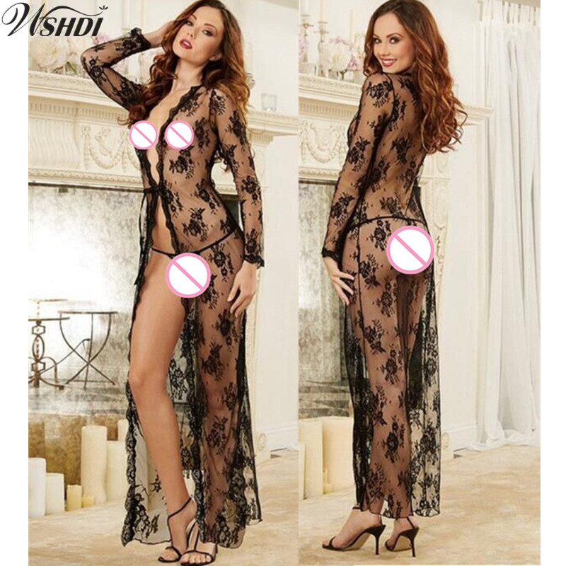 Black Transparent Jacquard Bandage Lace Bow Bathrobe Women's Underwear Fantasias Sexy Lingerie Sexy Erotic Gown Long Night Dress