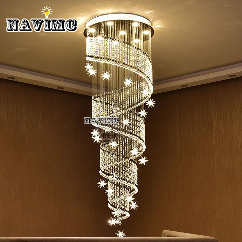 NAVIMC moon and star spiral design crystal chandelier lustre stair light fixture for hotel hallway